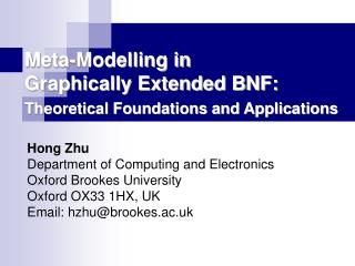 Meta-Modelling in  Graphically Extended BNF: Theoretical Foundations and Applications