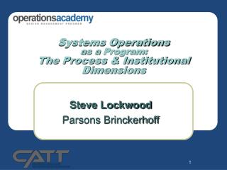 Systems Operations as a  Program: The Process & Institutional Dimensions