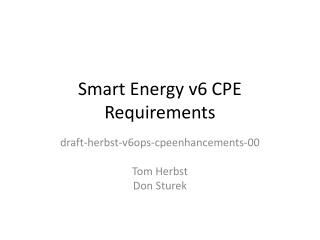 Smart Energy v6 CPE Requirements