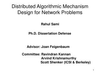 Distributed Algorithmic Mechanism Design for Network Problems