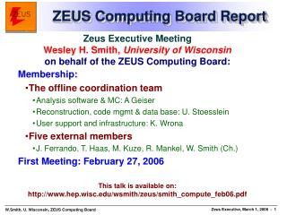 ZEUS Computing Board Report