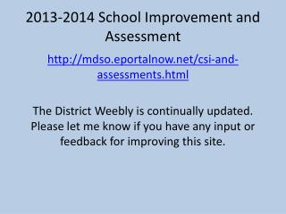 2013-2014 School Improvement and Assessment