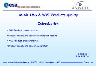 ASAR IMS & WVI Products quality Introduction