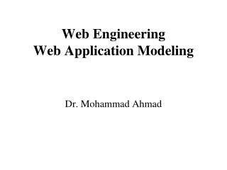 Web Engineering Web Application Modeling