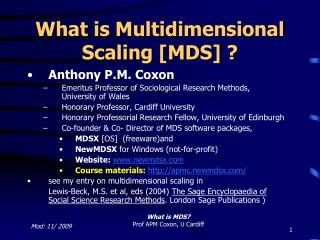 What is Multidimensional Scaling [MDS] ?