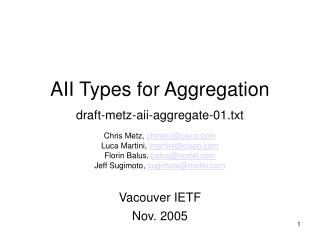AII Types for Aggregation draft-metz-aii-aggregate-01.txt