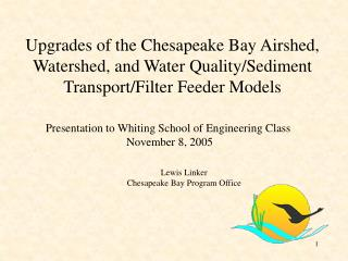 Presentation to Whiting School of Engineering Class  November 8, 2005