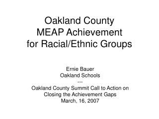 Oakland County MEAP Achievement for Racial/Ethnic Groups