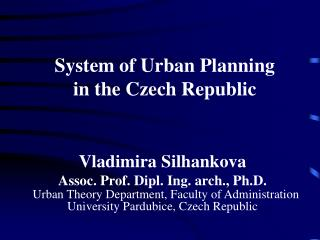 System of Urban Planning in the Czech Republic