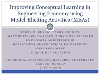 Improving Conceptual Learning in Engineering Economy using Model-Eliciting Activities (MEAs)