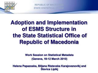Work Session on Statistical Metadata  (Geneva, 10-12 March 2010)
