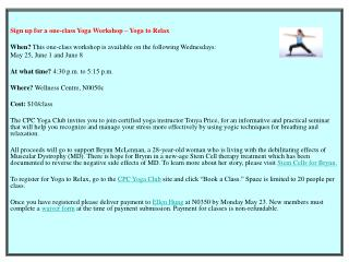 Sign up for a one-class Yoga Workshop – Yoga to Relax