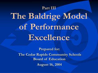 Part III  The Baldrige Model of Performance Excellence