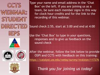 CCTS Webinar: Student Directed IEPs
