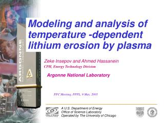 Modeling and analysis of temperature -dependent lithium erosion by plasma