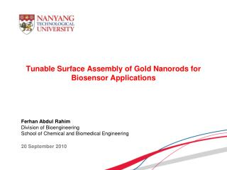 Tunable Surface Assembly of Gold Nanorods for Biosensor Applications