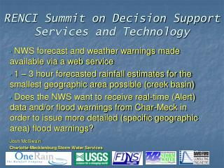 RENCI Summit on Decision Support Services and Technology