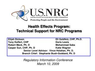 Health Effects Program:  Technical Support for NRC Programs
