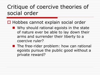 Critique of coercive theories of social order