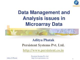 Data Management and Analysis issues in Microarray Data