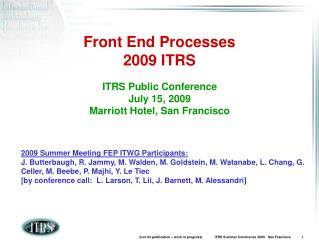 Front End Processes 2009 ITRS