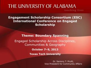 Engagement Scholarship Consortium (ESC) International Conference on Engaged Scholarship