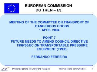 EUROPEAN COMMISSION DG TREN – E3