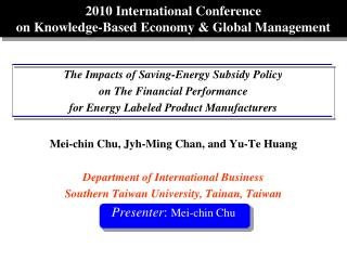 2010 International Conference  on Knowledge-Based Economy & Global Management