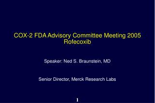 COX-2 FDA Advisory Committee Meeting 2005 Rofecoxib