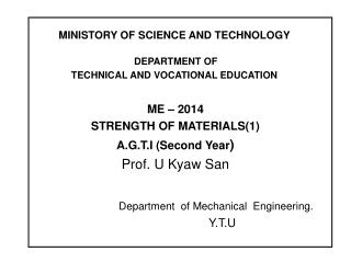 MINISTORY OF SCIENCE AND TECHNOLOGY  DEPARTMENT OF TECHNICAL AND VOCATIONAL EDUCATION