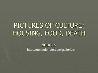 PICTURES OF CULTURE: HOUSING, FOOD, DEATH