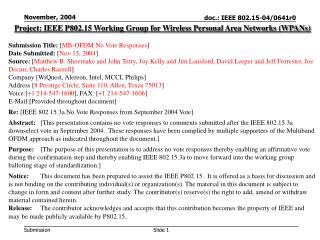 Project: IEEE P802.15 Working Group for Wireless Personal Area Networks (WPANs) Submission Title:  [ MB-OFDM No Vote Res