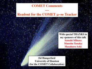 COMET Comments --- Readout for the COMET  e Tracker