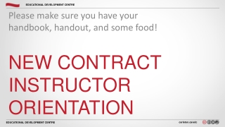 New Contract Instructor Orientation