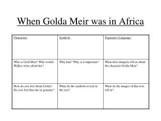 When Golda Meir was in Africa