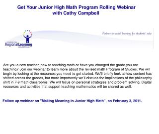 Get Your Junior High Math Program Rolling Webinar  with Cathy Campbell