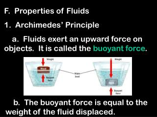 F.  Properties of Fluids 1.  Archimedes' Principle     a.  Fluids exert an upward force on objects.  It is called the