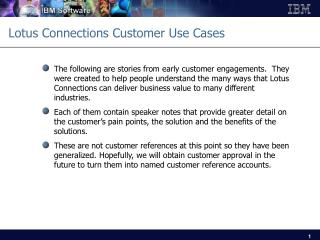 Lotus Connections Customer Use Cases