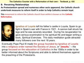 The Catholics Counter with a Reformation of their own -  Textbook, p. 435