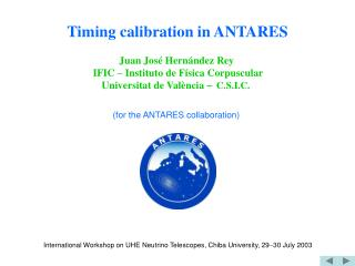 Timing calibration in ANTARES