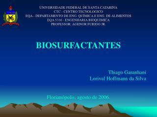 BIOSURFACTANTES Thiago Garanhani Lorival Hoffmann da Silva Florianópolis, agosto de 2006.