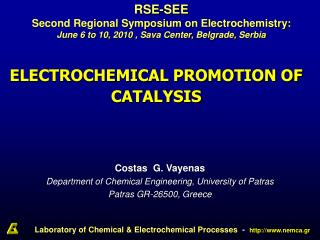 ELECTROCHEMICAL PROMOTION OF CATALYSIS
