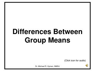 Differences Between Group Means