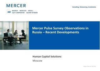 Mercer Pulse Survey Observations in Russia – Recent Developments