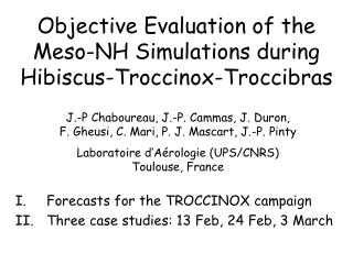 Objective Evaluation of the Meso-NH Simulations during Hibiscus-Troccinox-Troccibras