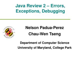 Java Review 2 – Errors, Exceptions, Debugging