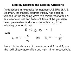 Stability Diagram and Stability Criterions