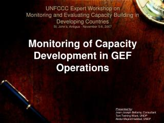 Monitoring of Capacity Development in GEF Operations