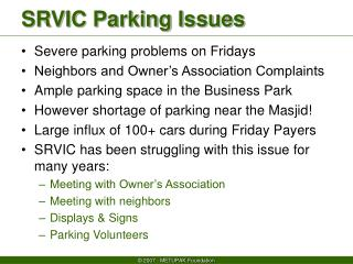 SRVIC Parking Issues
