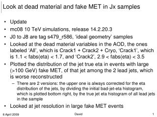 Look at dead material and fake MET in  Jx  samples